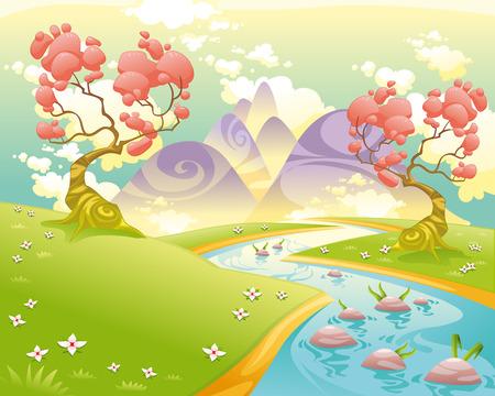 Paisaje mitológico con el río. Dibujos animados e ilustración vectorial. Ilustración de vector