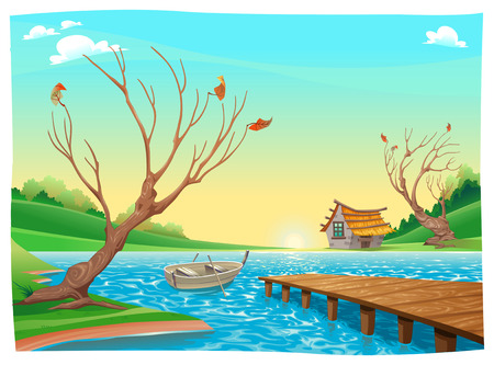 Lake with boat. Cartoon and vector illustration. Ilustracja