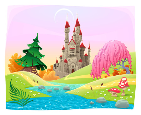 Mythological landscape with medieval castle. Cartoon and vector illustration. Vector