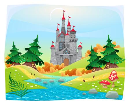 castillos: Paisaje mitológico con el castillo medieval. Dibujos animados e ilustración vectorial.