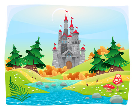 Mythological landscape with medieval castle. Cartoon and vector illustration.
