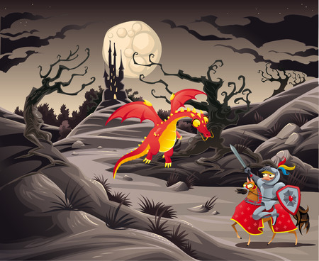 horror castle: Knight and dragon in a landscape with castle. Funny cartoon and vector illustration