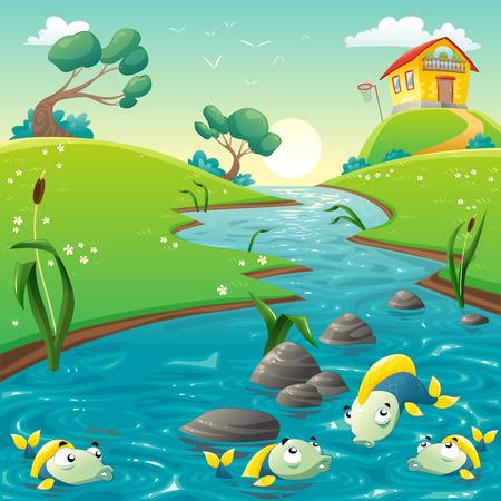 Landschap met rivier en grappige vis. Vector illustratie