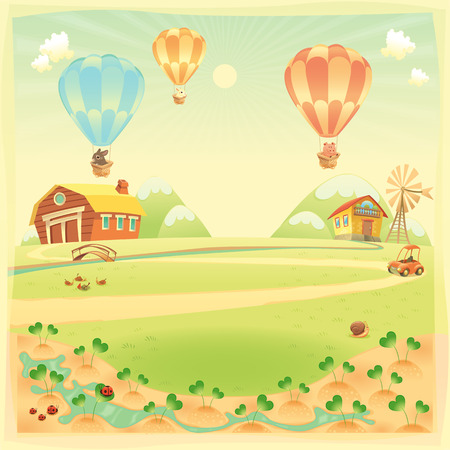 Funny landscape with farm and hot air baloons.  Vector
