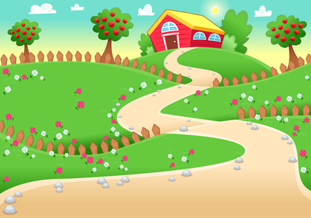 Funny landscape with farm.  Vector