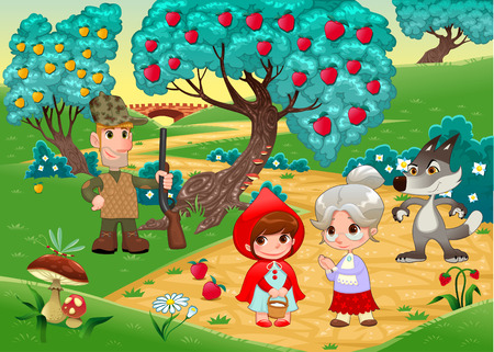 Little Red Hiding Hood scene. Funny cartoon and vector illustration.