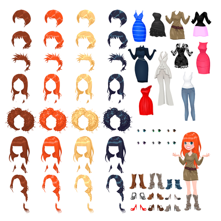 sheath: Avatar of a woman. Vector illustration, isolated objects. 7 hairstyles with 4 colors each one, 10 different dresses, 6 eyes colors, 9 shoes.