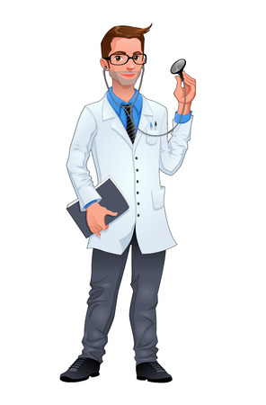 Young doctor. Isolated vector character. Vector