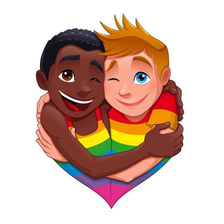 gay: Born This Way. Lustige Paar Homosexuell, Vektor isoliert Charakter.