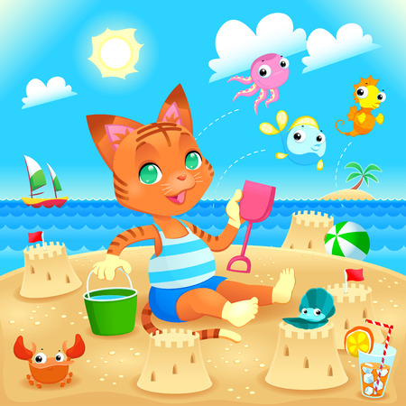 Young cat makes castles on the beach. Funny cartoon and vector illustration, you can play Find The Difference between other similar images on my portfolio. Vector