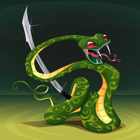 viper: Poisonous snake with saber. Cartoon vector illustration