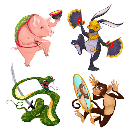 snake and a bowl: Pig, rabbit, snake and monkey. Four isolated vector animals in different activities. Illustration