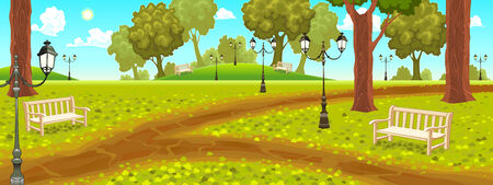 Park with benches and street lamps. Cartoon vector illustration Illustration