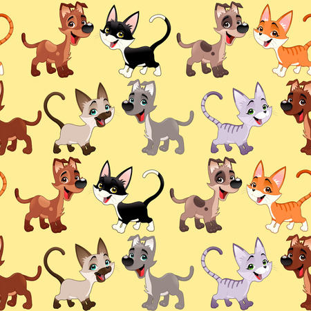 whelp: Funny cats and dogs with background. The sides repeat seamlessly for a possible packaging or graphic Illustration
