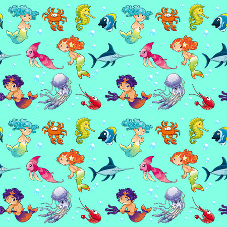 triton: Funny sea animals with mermaids and background. The sides repeat seamlessly for a possible packaging or graphic Illustration