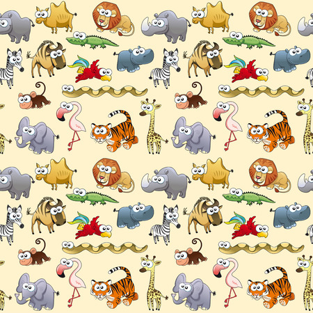 cartoon camel: Savannah animals with background. The sides repeat seamlessly for a possible packaging or graphic