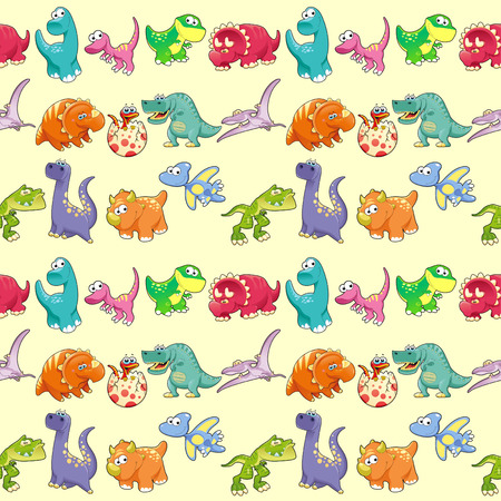 Group of funny dinosaurs with background. The sides repeat seamlessly for a possible packaging or graphic Ilustração
