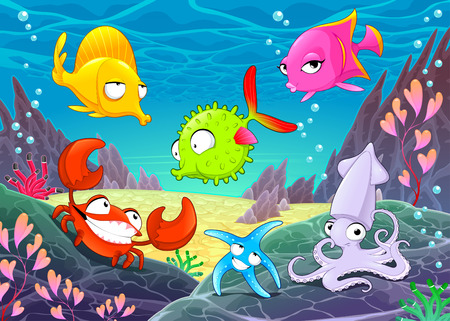 Funny happy animals under the sea. Vector cartoon illustrations