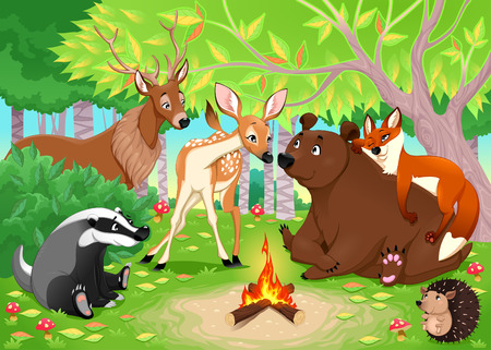 Funny animals stay together in the wood. Vector cartoon illustration