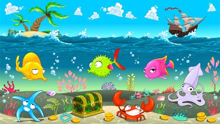 cangrejo caricatura: Divertida escena bajo el mar. Ilustración vectorial de dibujos animados Vectores