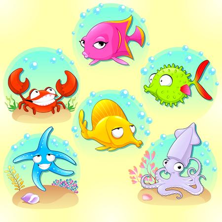 sea animals: Funny sea animals. Illustration
