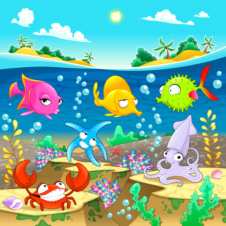 Happy marine family under the sea.  Vector