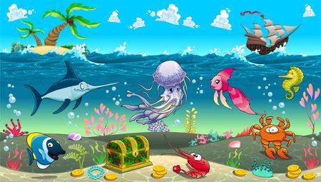 바다에서 재미있는 장면. 벡터 만화 일러스트 레이 션