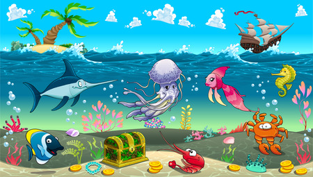 isla del tesoro: Divertida escena bajo el mar. Ilustración vectorial de dibujos animados Vectores