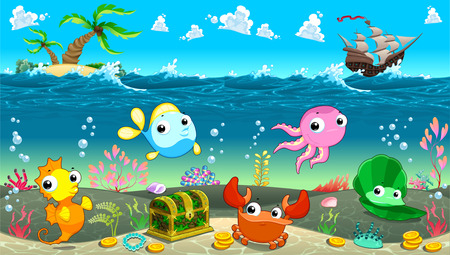 Funny scene under the sea. Vector cartoon illustration Zdjęcie Seryjne - 31954348