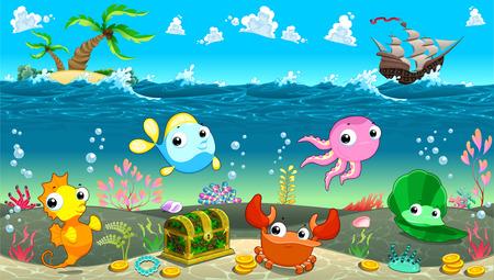 Funny scene under the sea. Vector cartoon illustration