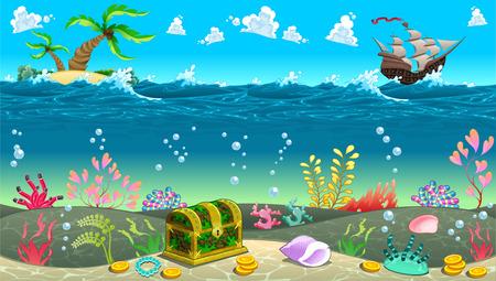 isla del tesoro: Divertida escena bajo el mar. Ilustraci�n vectorial de dibujos animados Vectores