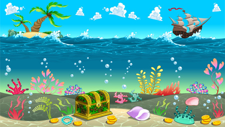 sea wave: Funny scene under the sea. Vector cartoon illustration