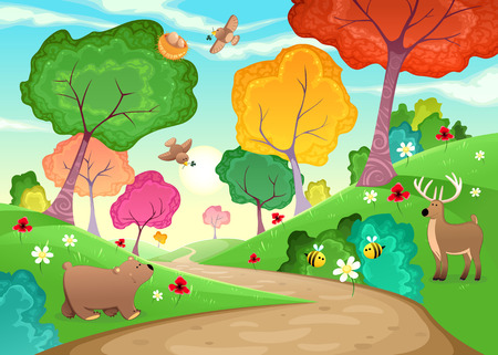 autumn scene: Family of animals in the wood. Cartoon and vector illustration