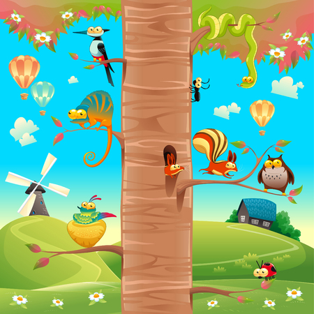 Funny animals on branches.  Vector