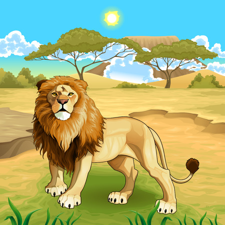 African landscape with lion king. Vettoriali