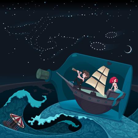 pirata: Viaja en el nght. Ilustraci�n vectorial de dibujos animados