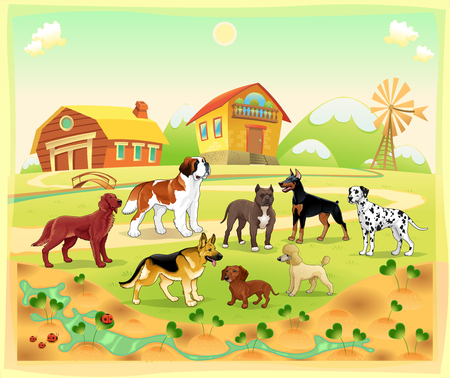 Landscape with group of dogs. Vector cartoon illustration. Vector