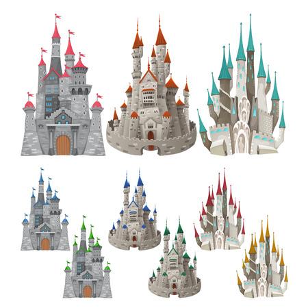 castillos: Conjunto de castillos medievales en diferentes colores. Dibujos animados y objetos vectoriales aislados.