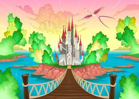 castillos: Paisaje de fantas�a con castillo ilustraci�n Vectores