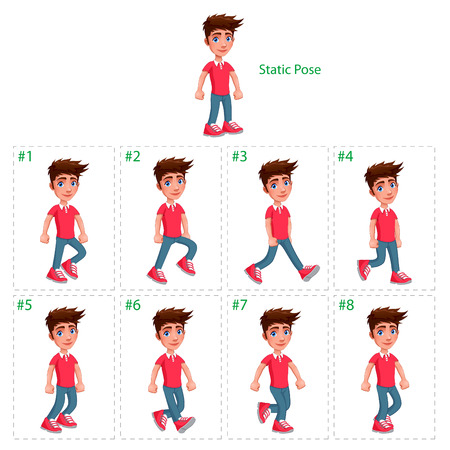 Animation of boy walking. Eight walking frames + 1 static pose. Vector cartoon isolated characterframes.