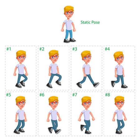 animation teenagers: Animation of boy walking. Eight walking frames   1 static pose. Illustration
