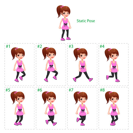 Animation of girl walking. Eight walking frames + 1 static pose. Vector cartoon isolated character/frames. Vettoriali