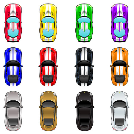 cars race: Set of three cars in four different colors. Vector isolated objects.
