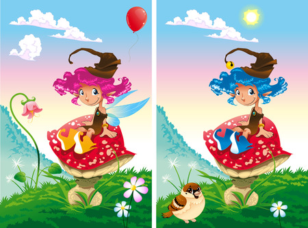 Spot the differences. Two images with ten changes between them, vector and cartoon illustrations
