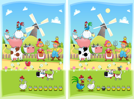 Spot the differences. Two images with ten changes between them, vector and cartoon illustrations Vector