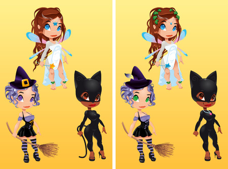 scary girl: Spot the differences. Two images with ten changes between them, vector and cartoon illustrations