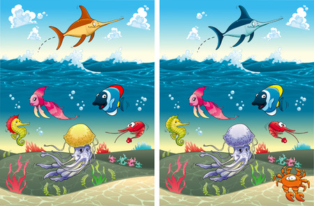 Spot the differences. Two images with seven changes between them, vector and cartoon illustrations Çizim