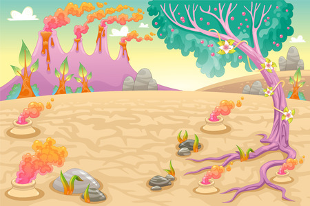 scene: Funny prehistoric landscape. Vector and cartoon illustration.