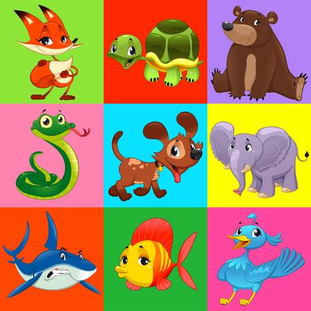 serpiente caricatura: Conjunto de animales con el fondo. Personajes de dibujos animados y vector. Vectores