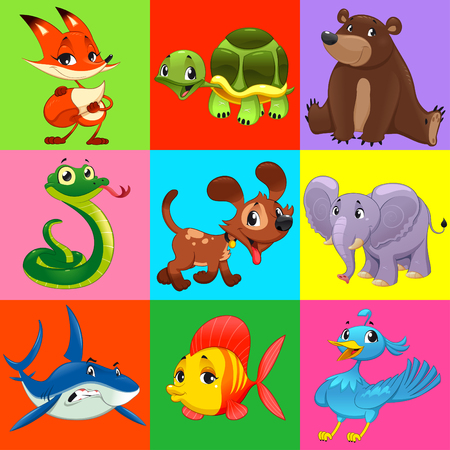 Conjunto de animales con el fondo. Personajes de dibujos animados y vector.